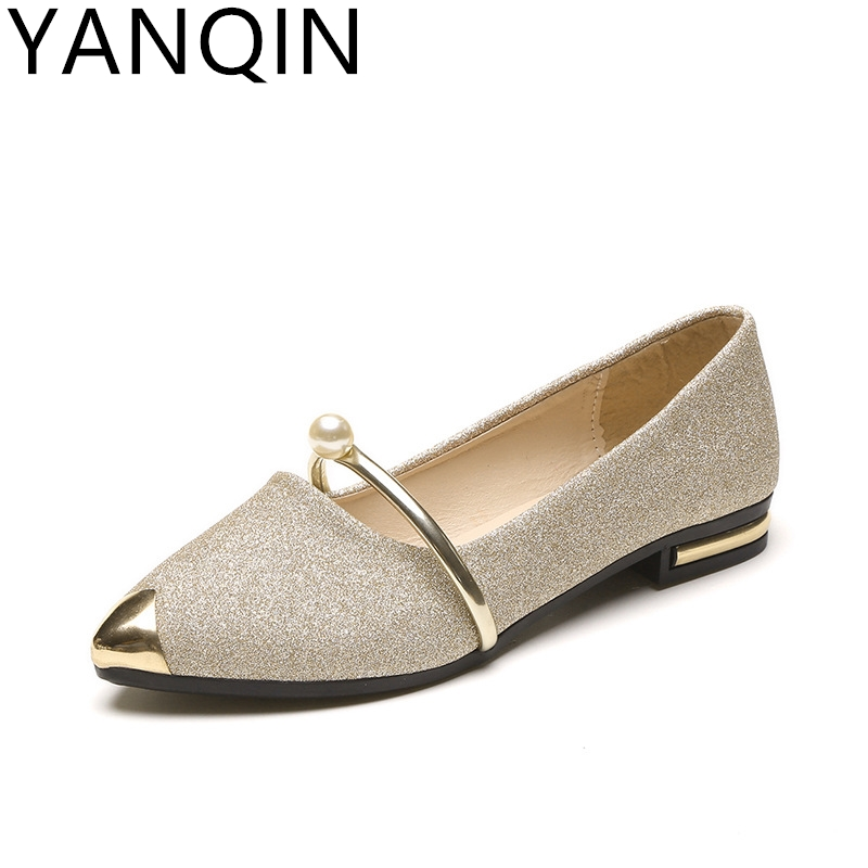 YANQIN New Pointed Toe Shallow Women Shoes Woman Comfortable Slip On Casual Shoes Leisure All Match Singles Ladies Shoes Female lin king fashion pearl pointed toe women flats shoes new arrive flock casual ladies shoes comfortable shallow mouth single shoes