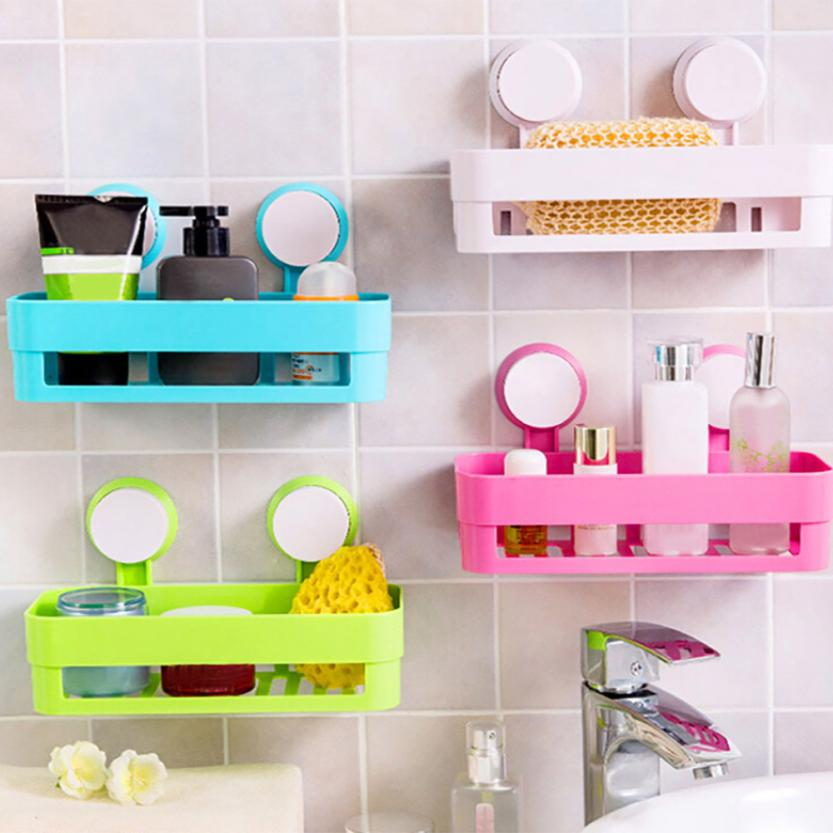 Wall Mounted Bathroom Corner Shelf Sucker Suction Cup Plastic Shower ...