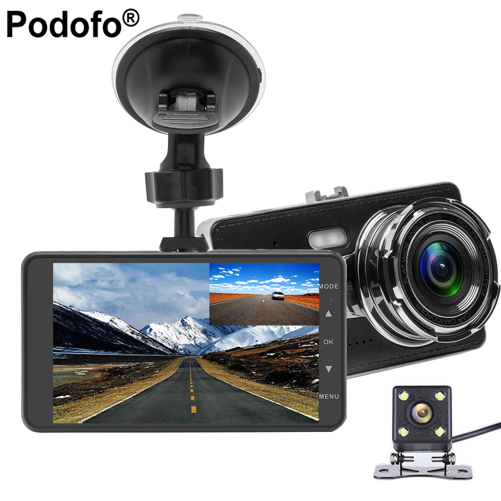 Podofo 4.0 Inch IPS Screen Car DVR Camera Dual Lens Full HD 1080P Video Recorder Registrator Loop Recording Car Camcorder DVRs
