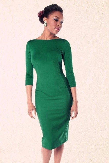 women vintage 50s green boat neck long sleeve wiggle midi pencil dress plus  size vestidos pinup dresses elegant office jurken f27534835b97