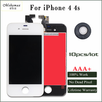 Mobymax 10PCS 100 Test No Dead Pixel AAA LCD Display For IPhone 4 4s Touch Glass