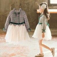 DFXD Spring Girls Dress 2019 Fashion Big Girl Full Sleeve Plaid Lace Patchwork Princess Dress Kids Costume Children Party Wear