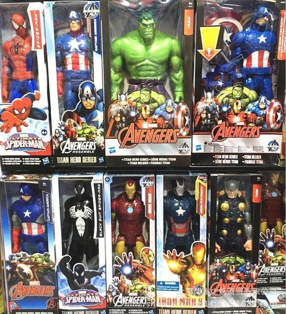 30 cm Mavel The Avengers Capitão América homem De Ferro Thor Spiderman Toy Figuras de Ação Colecionáveis Modelo Brinquedos para Presentes