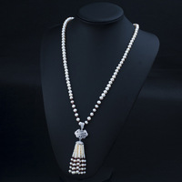 Sterling Silver Jewelry Boho Real Pearl Necklace Semi Precious Stone Necklaces Pendants Long Necklace Collier De
