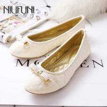 Plus Size 35-42 Ladies Flat Shoes Bow-knot Solid Women Sandals Platform Casual Shallow NIUFUNI 2019 Bottom Feminino