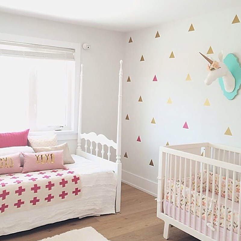Us 0 71 10 Off Nursery Decor Little Triangles Wall Sticker For Kids Room Baby Stickers Childrens Home In