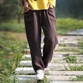 Женщины Весна Хлопок белье Брюки Свободные 2016 Оригинал Прямые Брюки Карманы Брюки Случайные Сплошной Цвет Плиссированные Старинные