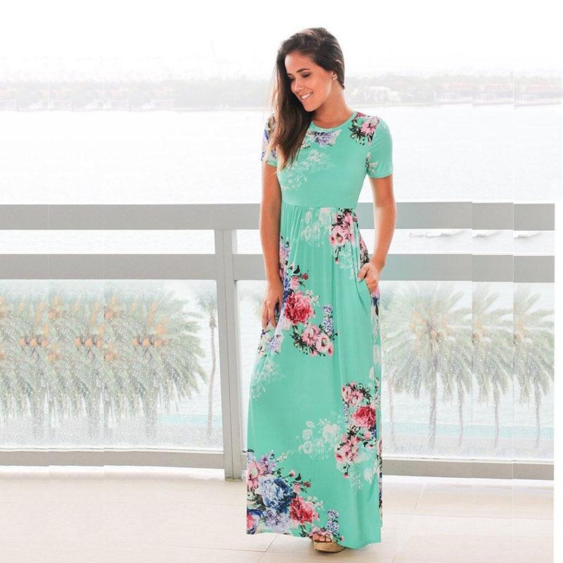 ELSVIOS 2017 Hot Sale Summer Long Dress Women Floral Print Short Sleeve Boho Maxi Dress Loose Beach Plus Size Dresses S-3XL  1