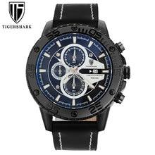 2016 TIGERSHARK popular brand luminous black dial watches men sport chronograph 30M waterproof date genuine leather