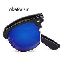Toketorism Vintage Half frame Classic folding oculos de sol feminino Foldable sunglasses men 1287