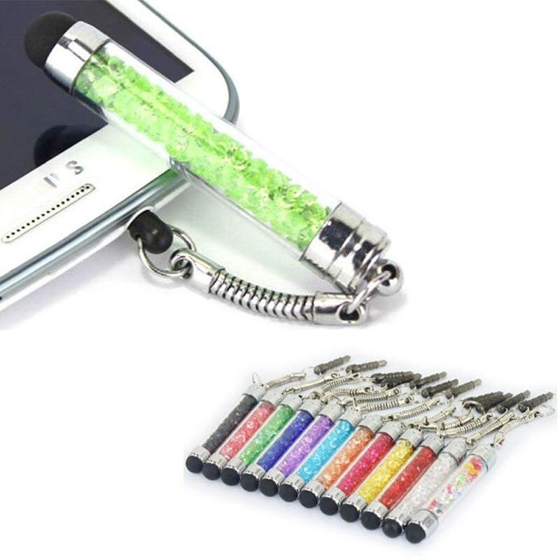 JONSNOW 2 PCS Touch Pen Crystal Diamond Dust Stylus Touch Pen With 3.5 Mm Headset Jack Dustproof Cap For IPad Smartphone Tablet