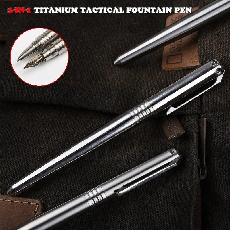 Высокое качество 2 в 1 Титан Тактический перьевая ручка Самообороны аварийного Стекло выключатель, выживания на природе, для повседневного