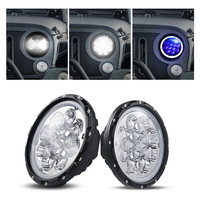 2Pcs Wrangler 7 Round LED Headlight 60W 5D Osrams Driving Light Combo Beam LED Atmosphere Light Blue Halo Ring