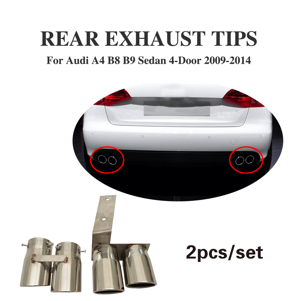 Auto Car Rear Exhaust Pipe Tail Muffler Tip Fit for Audi A4 B8 B9 2009-2014 2pcs/set Car Styling free shipping 2pc lot car styling car led lamp canbus bay9s rear fog lamp for audi a4 avant 8k5 b8 8w5 b9