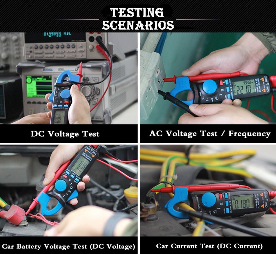 Mini Digital AC/DC Current Clamp Meter With True RMS Measurement And Auto Range Feature For Car Repair 10
