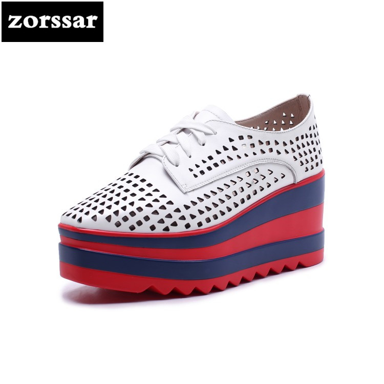{Zorssar} 2018 NEW fashion Genuine Leather casual womens shoes Platform heels Wedges High heels pumps summer women shoes woman fashion high heels sandals women genuine leather buckle summer shoes brand new wedges casual platform sandal gold silver