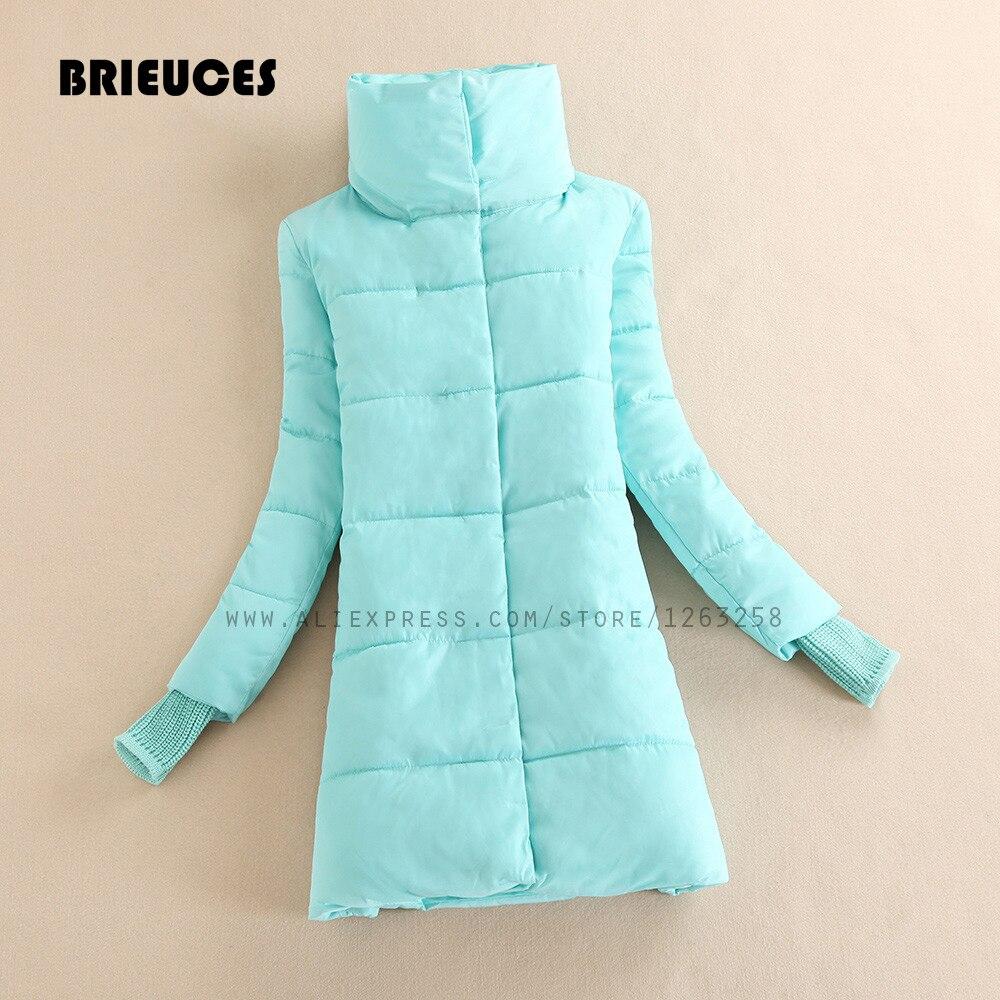 Brieuces 2017 зимняя куртка женщин плюс размер женский куртка S-XXL вниз хлопка зимнее пальто долго женщины зимние куртки конфеты цвета