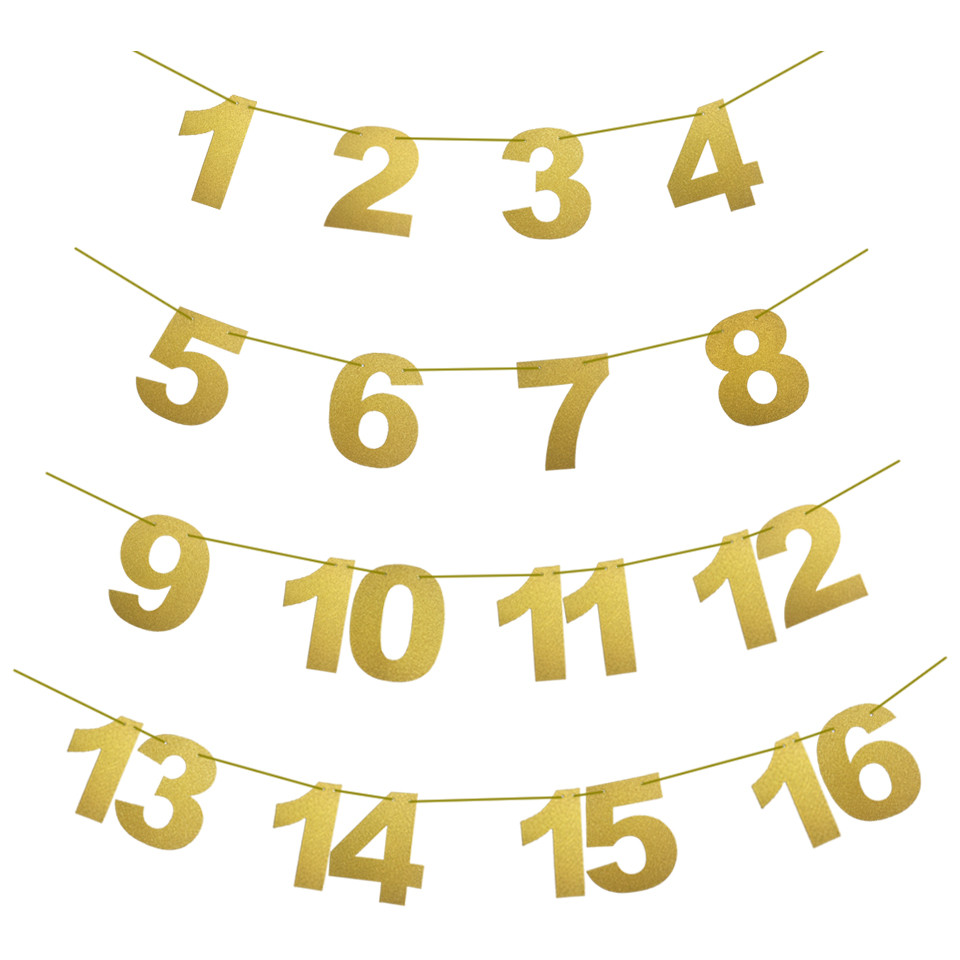 Baby Girl Boy One Year Old First Birthday Decorations Gold Pink 1 16 Month Photo Bunting Garland Pennant In Banners Streamers Confetti From