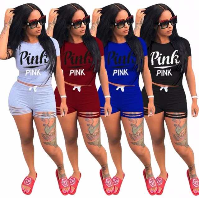 34a749b151c Hot European Style Tracksuit Set Love Pink Letter Shirt+Shorts Body Track  Suit Set Summer Clothes Q093