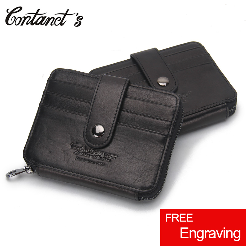 Credit Card Holder Cover Genuine Leather Zipper Mini Wallet Band Design Business Card Purses Case Hasp Coin Pockets Money Bags