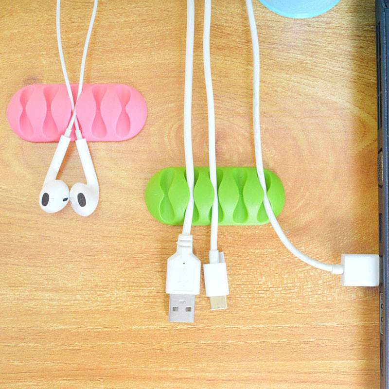 Image 2 - 1pc Wire Clip Organizer Office Silicone Cable Organizer Wire Winder Holder Desk Cord Clip Tie Fixer Wire Manegement-in Cable Winder from Consumer Electronics