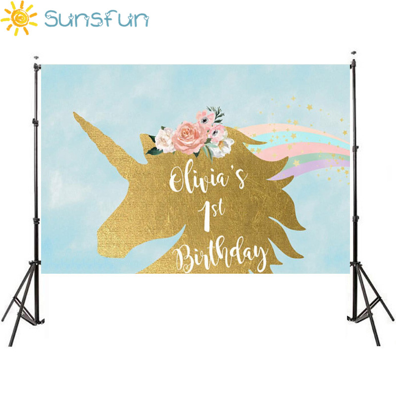 Sunsfun 7x5ft Photography Backdrop Unicorn Birthday Theme Party Princess Flower Rainbow Golden