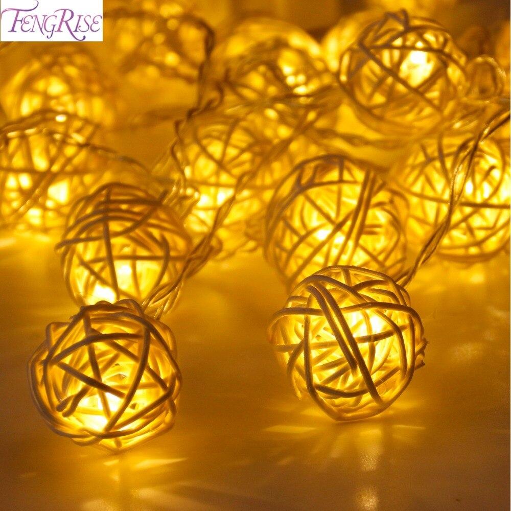 Fengrise 20 ротанга мяч светодиодов Строка Фея огни Новогодние товары Дерево Украшения украшения Xmas теплый белый светодиод Декор для дома и сада