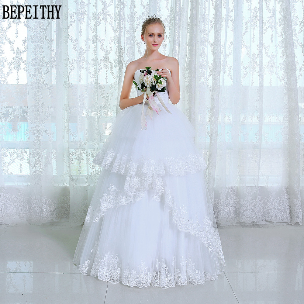 BEPEITHY Fantastic Ball Gown Layers Tulle Wedding Dresses Sweetheart Lace Bridal Dress Vestido De Novia Wedding Gowns 2019
