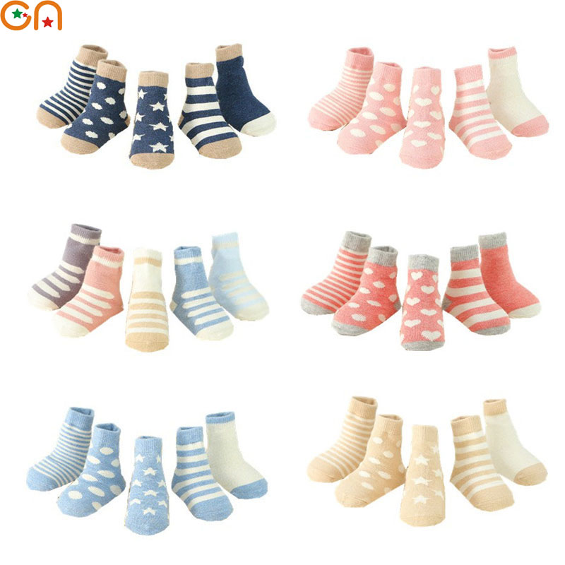 где купить 5 pairs/lot Children cotton socks Boy,girl,Baby,Infant Keep warm stripe Dots fashion Sport's Socks Autumn/Winter Kids gifts CN по лучшей цене