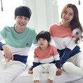 Família Roupas Combinando Mãe/Pai/Stripe Da Longo-Luva de Algodão Do Bebê T shirts Spring & Outono Roupas Família bebê Meninos/Meninas Roupas