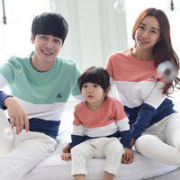 Family Matching Outfits Mom/Dad/Baby Stripe Long-Sleeve Cotton T shirts Spring&Autumn Family Clothing Baby Boys/Girls Clothes