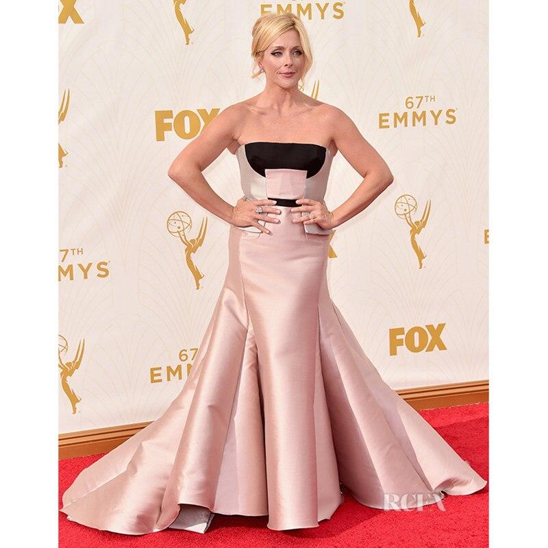 aa7f35fe078 Jane Krakowski Celebrity Dresses Sexy Strapless Blush Pink Satin Mermaid  Formal Dress Red Carpet Dresses 2017