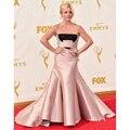 Jane Krakowski Celebrity Vestidos Sexy Strapless Blush Rosa Sirena de Satén Vestido Formal Alfombra Roja se Viste 2017 Premios Emmy