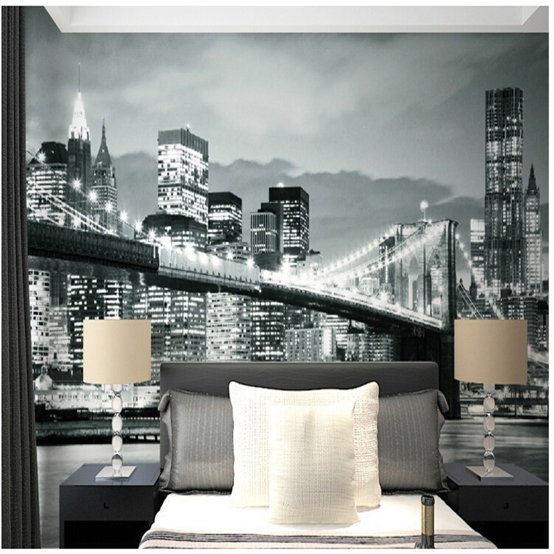 custom photo wall murals 3d stereo black and white. Black Bedroom Furniture Sets. Home Design Ideas
