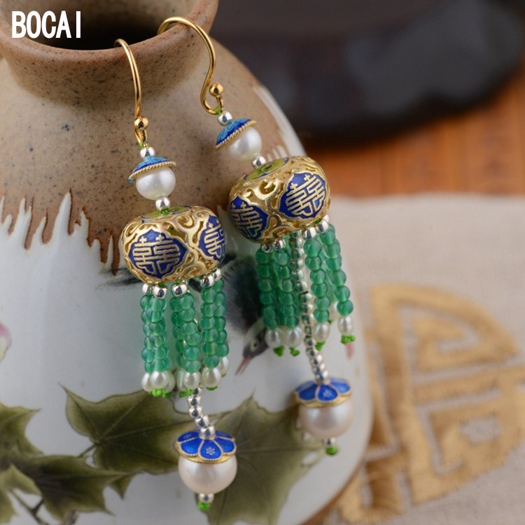 S925 sterling silver earrings wholesale silk fringe Earrings Handmade traditional crafts Beijing DIY explosion models [factory direct] iron wholesale explosion models three storage cabinets