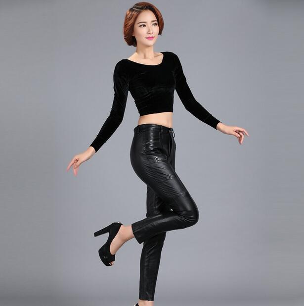 Хит 2019, весенние новые женские длинные штаны из натуральной кожи, женские модные узкие брюки, женские обтягивающие штаны из овечьей кожи, S 5XL