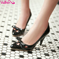 VALLKIN New Summer Mary Janes Sandals Woman Pumps Bowtie Shoes High Heel Sweet Lady Soft Leather Pointed Toe Solid Size 34-43