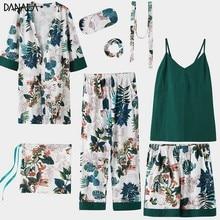DANALA Sexy 100% Cotton 8 Piece Pajamas Sets For Women Leaves Print Kimono Nightwear Four Seasons Suitable Home Suits