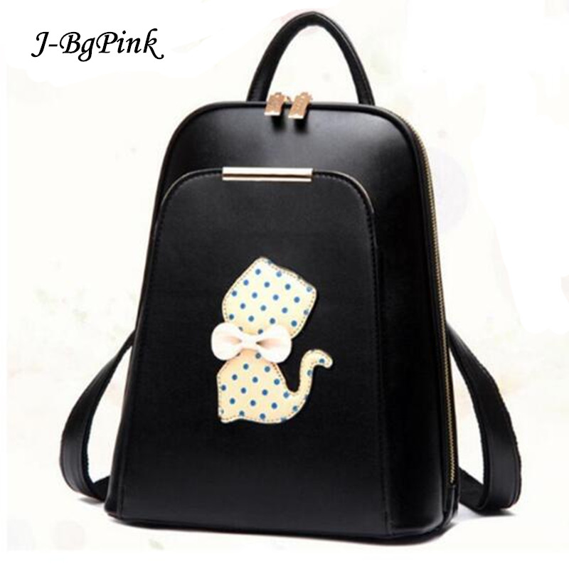 Hot 2018 New cat backpack bags for girls mochilas escolares black PU leather backpack for women back pack cute book bags childre