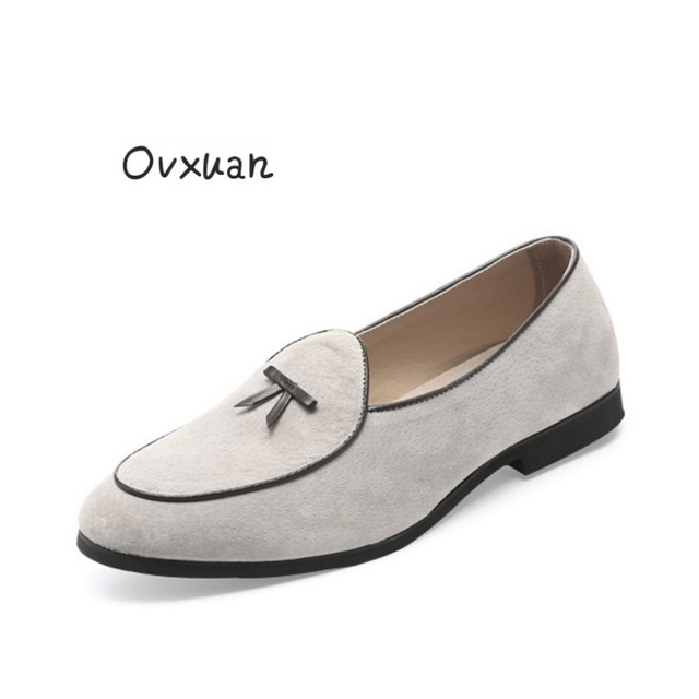 8625ffd8f173b Ovxuan Italian Beige Suede Loafers Smoking Men Slippers Bow Tie Moccasins  Man Flats Wedding Men Dress Shoes Casual slip on shoes