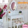 Blanco marfil de color estilo Queen Anne tocador tocador sistema de la vanidad con eslabón giratorio oval espejo y heces