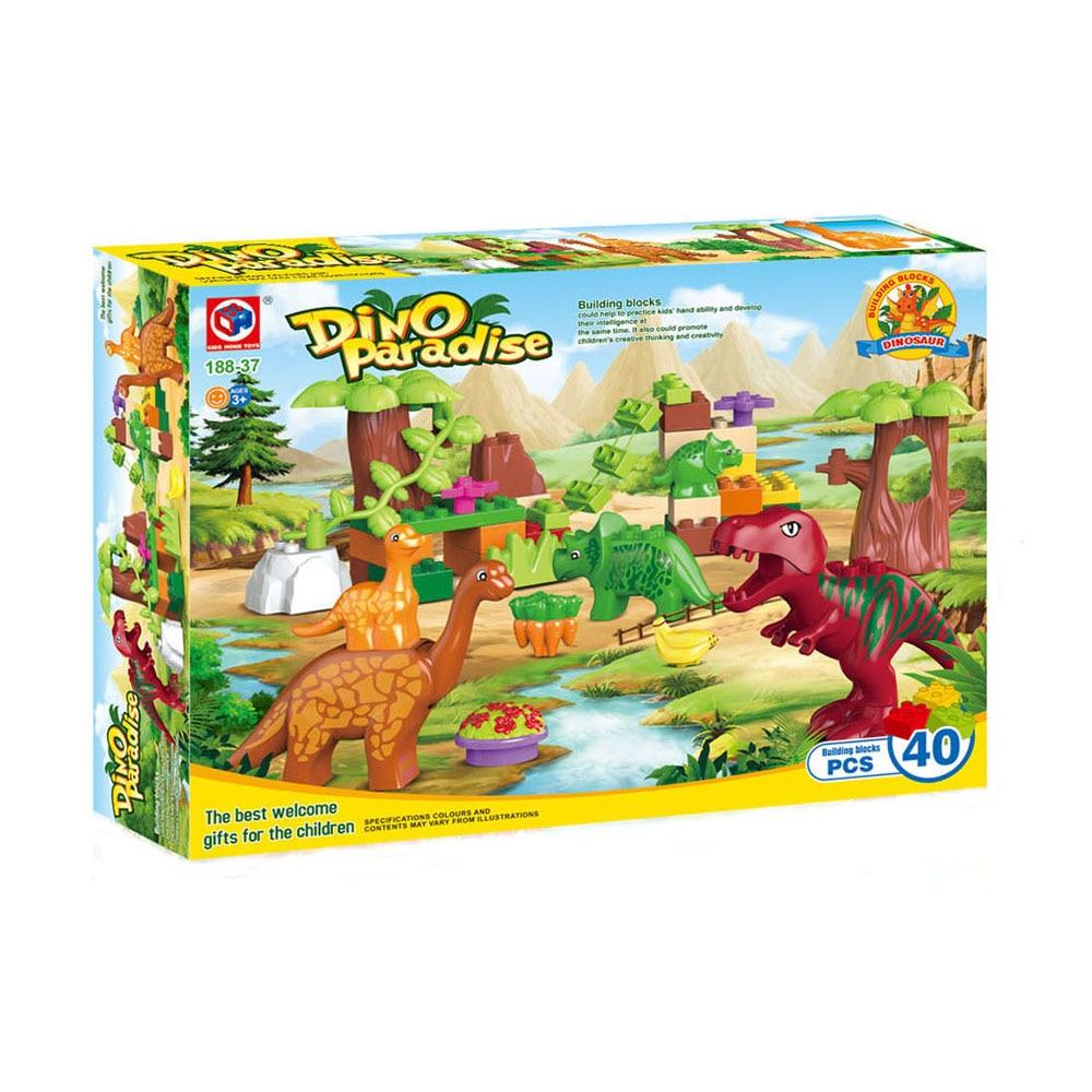 40pcs legoeINGly Duplos Jurassic World Dino Valley Building Blocks - Bygg og teknikk leker - Bilde 5