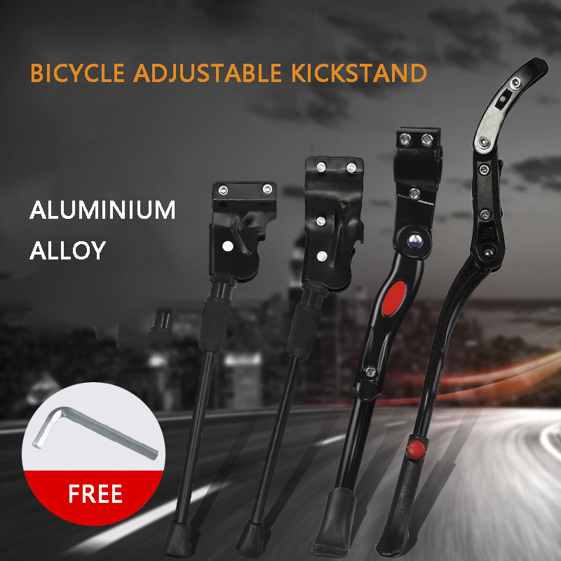 E-More Bike Kickstand Adjustable Height Cycling Rear Kick Stand with Anti-slip Rubber Foot Aluminum Alloy Bicycle Side Kick Stand for 22-26 Road Bike//Mountain Bike
