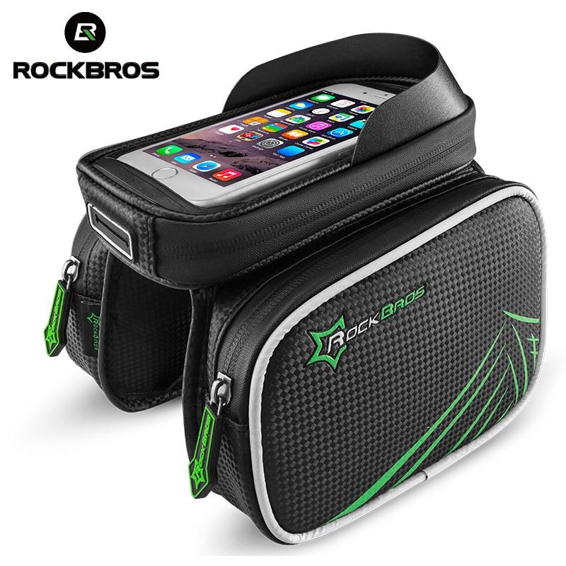 Цена за Rockbros велосипедов сумка непромокаемые велосипед подголовники на передних мешок топ трубы Двойные IPouch Велоспорт Паньер 5.8 6.0 6.2 Дюймов Сенсорный экран