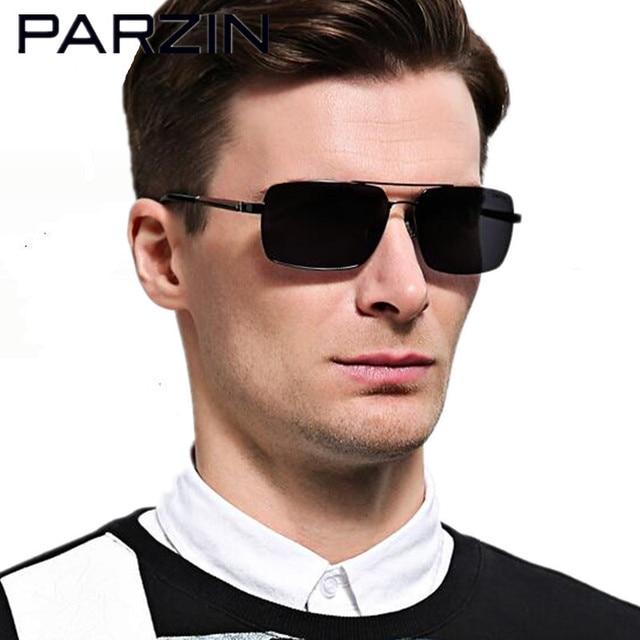 2bfdfaa0c80 Parzin Polarized Men Sunglasses Rectangle Male Polarized Sun Glasses  Fashion Men Shades Goggles With Case Black 8057