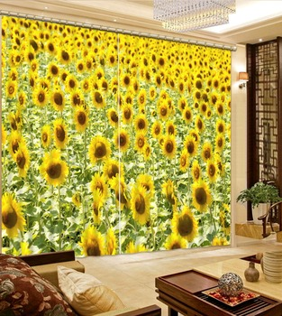 photo Blackout Window Drapes Luxury 3D Curtains For Living room Bed room Office Hotel Home yellow curtains