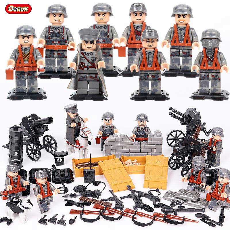 Classic WW2 German Blitzkrieg Special Assault Military War Scene Model Mini German Army Soldier Figures Building Block Brick Toy цена