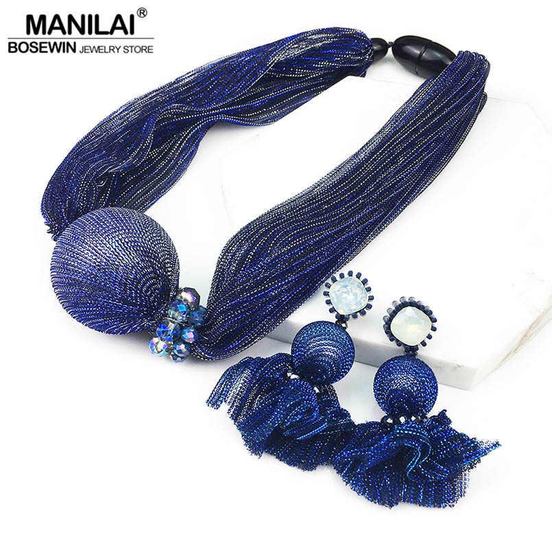 MANILAI Big Simulated Pearl Jewelry Sets Crystal Bead Chunky Silk Choker Necklace Earrings Sets Charm Wedding Jewelry Set female