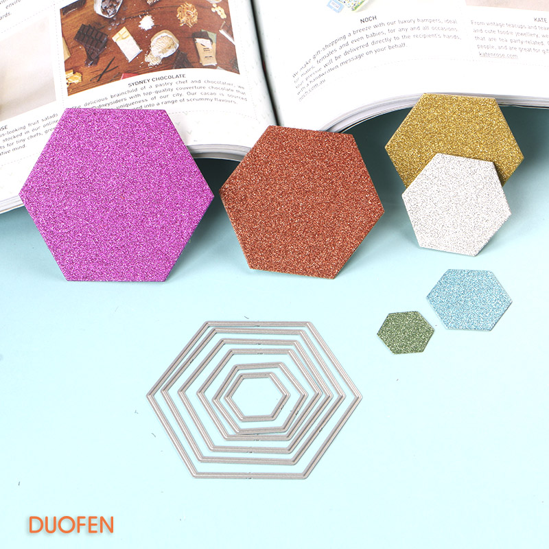 140174 hexagon set 6pcs stencil metal Cutting dies for DIY papercraft project Scrapbook Paper Album greeting cards in Cutting Dies from Home Garden