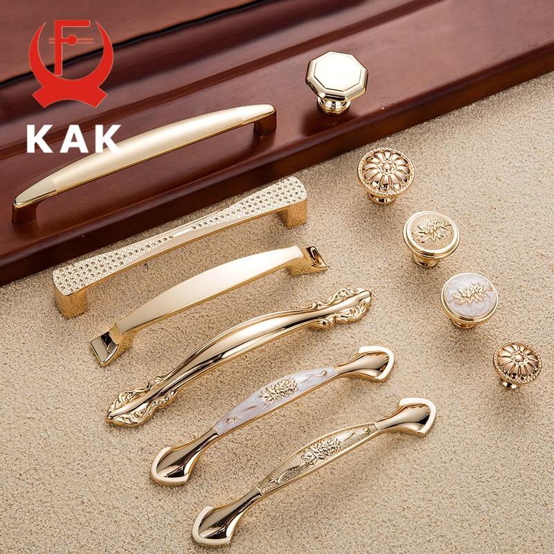KAK 5 Pieces Champagne Gold Door Handles Zinc Alloy Cabinet Handle Drawer Knobs European Wardrobe Pulls Kitchen Furniture Handle